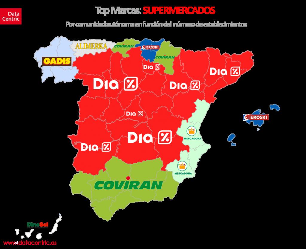 Mapa de top marcas SUPERMERCADOS en España por número de establecimientos