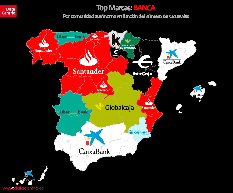 Mapa de top marcas de BANCA en España