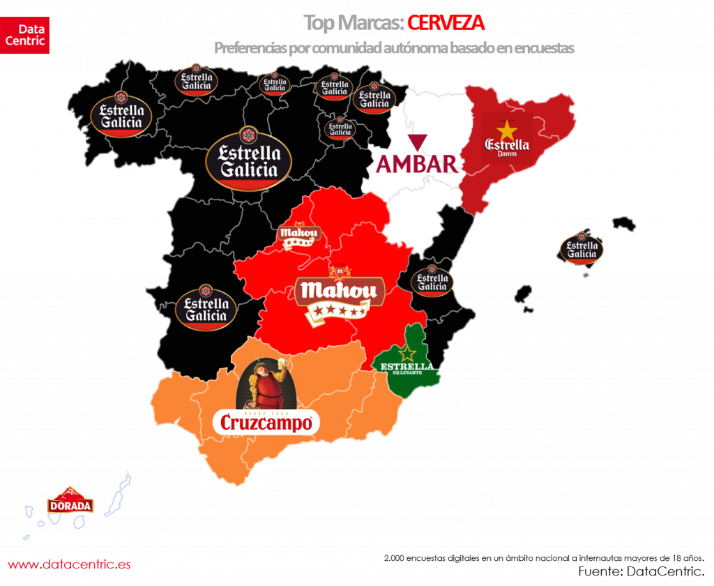 Mapa de top marcas de CERVEZA en España