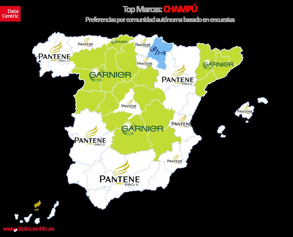 Mapa de top marcas de CHAMPU en España