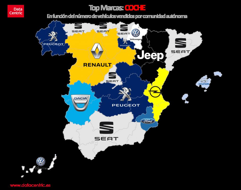 Mapa de top marcas de COCHE en España