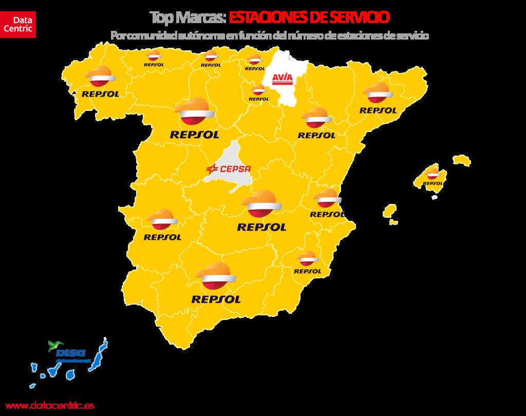 Mapa de top marcas de ESTACIONES DE SERVICIO en España