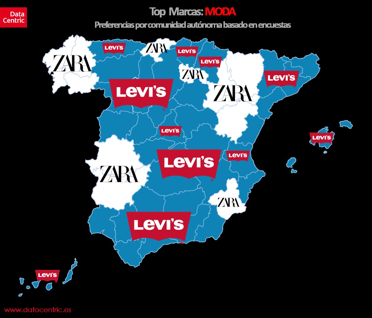 Mapa de top marcas de moda en España
