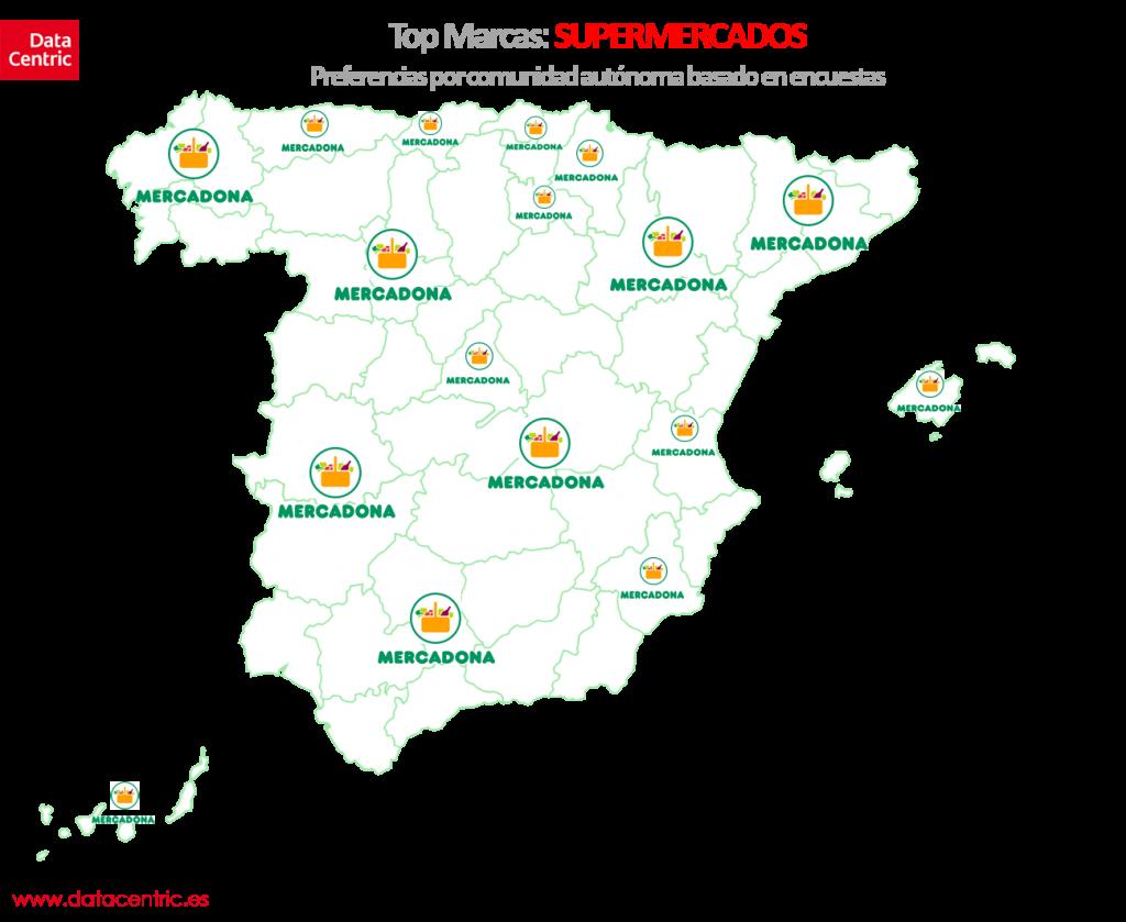 Mapa de top marcas de SUPERMERCADOS en España