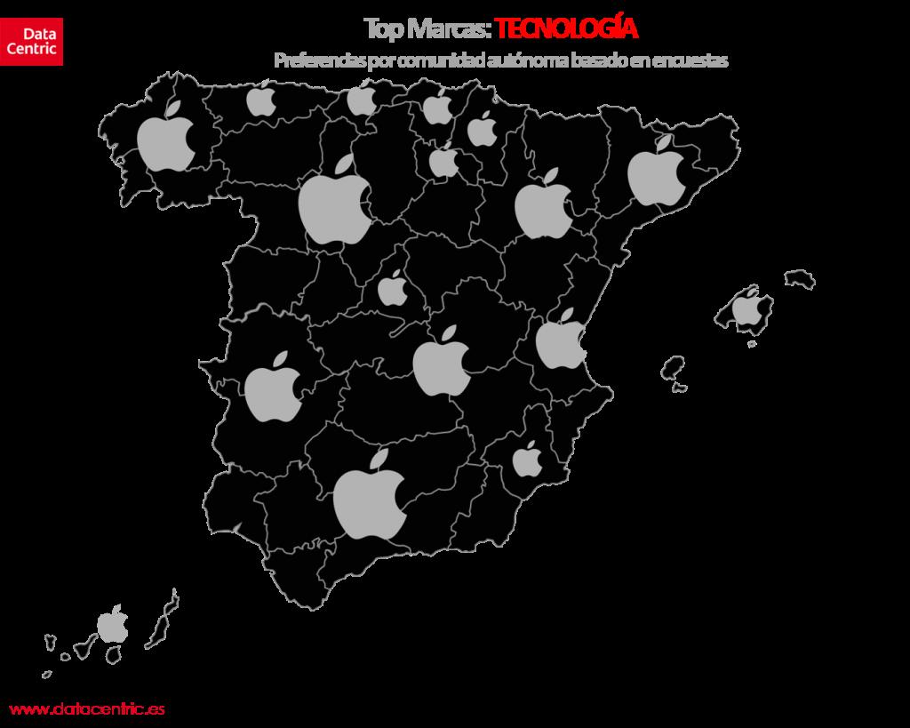 Mapa de top marcas de TECNOLOGIA en España
