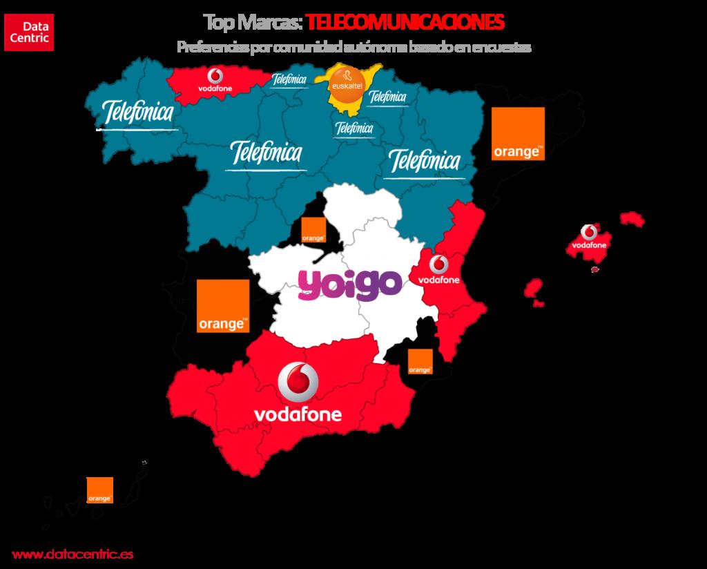Mapa de top marcas de TELECOMUNICACIONES en España